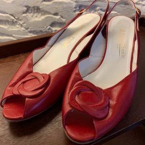 Red Evan Picone Vintage Peeptoe Heels - Size 9.5